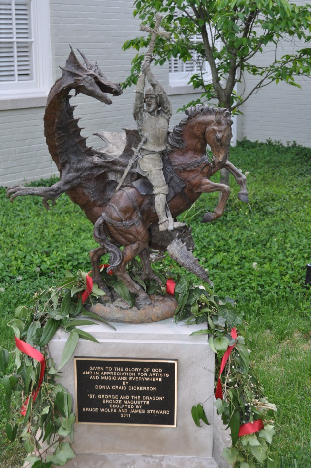This statue of St. George slaying the dragon stands in front of St. George's Episcopal Church.